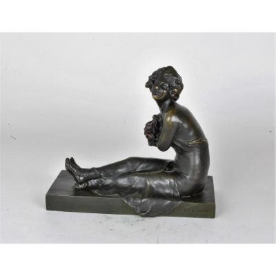 M Nannini, Young Seated Woman, Signed Bronze, Late XIXth / Early XXth Century