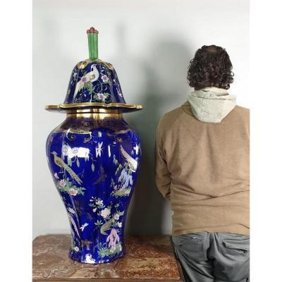 """Mason's Patent Ironstone China, Grand vase couvert  en """"pierre de fer"""", début XIXème siècle"""