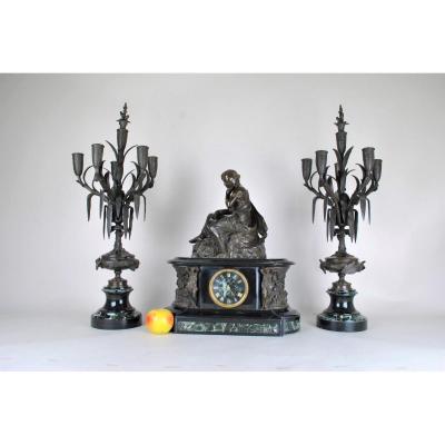 James Pradier, Garniture De Nemausa, Bronze Et Marbre, XIXème Siècle