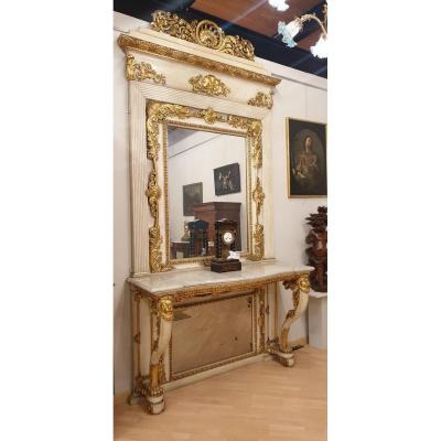 Large Console And Mirror, Lacquered And Gilded Wood, Tuscany, XIXth Century