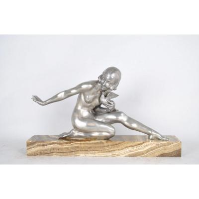 A Godard, Young Woman With A Dove, Signed Bronze, Art Deco, 20th Century