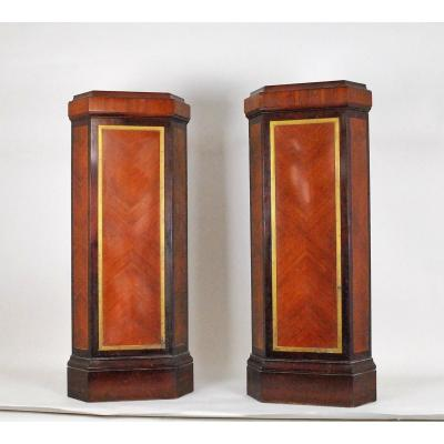 Pair Of Gaines In Corner, Mahogany And Bronze 20th