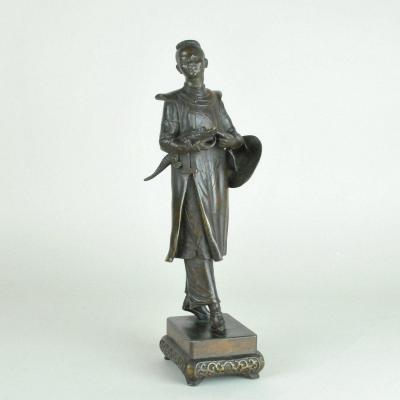 Chinois Au Crocodile En Bronze, Rare Modèle De H Galy, 19eme Siècle