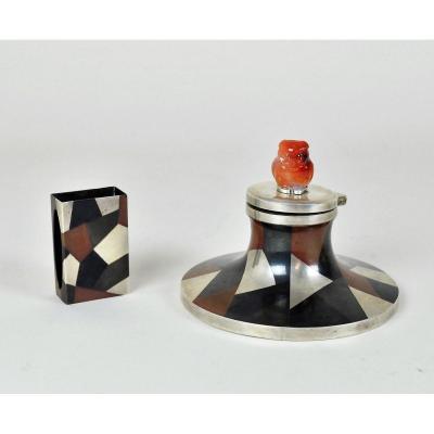 Encrier Et Boite Allumettes En métal argenté émaillé, Yamanaka, Art Deco 20eme Siècle