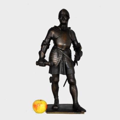 Lenz, Bronze Chevalier En Armure, Signé, Fin 19ème Début 20ème Siècle