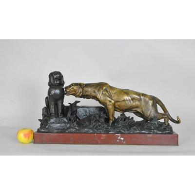 G Gardet / Barbedienne, Panther In The Ruins, Bronze 19th Century