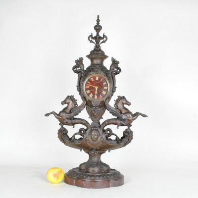Blot & Drouard, Winged Seahorse Clock, Napoleon III, 19th Century