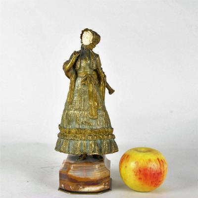 Marquet, Chryselephantine élégante Jeune Femme, Signée, Fin 19ème Siècle