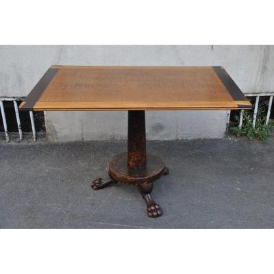 """""""Campanino"""" table en marqueterie de bois exotique, signée, 19ème siècle"""