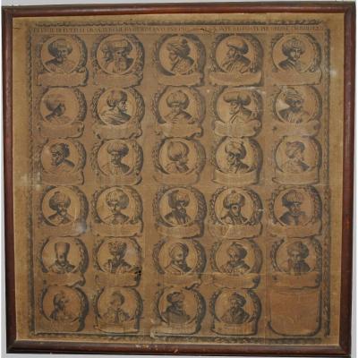 Grande Gravure Aux Sultans, Italie, 18ème Siècle