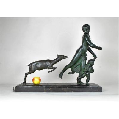 G Gori, Large Bronze Running Woman With A Doe, XXth Century