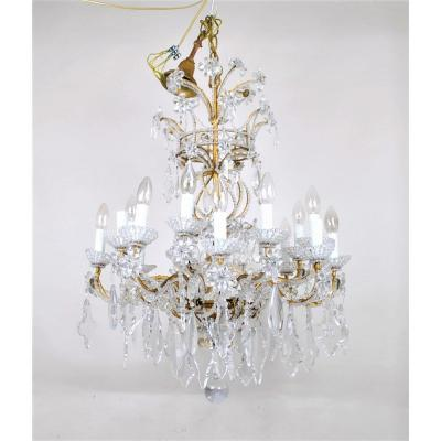 Chandelier + Pair Of Wall Lights In Golden Iron And Pearls, Mid XXth Century