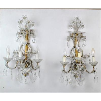 Suite Of 3 Wall Lights In Golden Iron And Crystal, Mid 20th Century