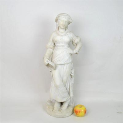 Ciociara, Marble Of A Young Woman With A Tambourine, Italy, End Of The XIXth Century
