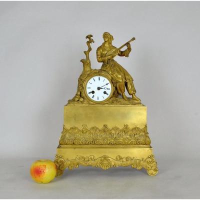 Ormulu Clock, Greek Playing Lute, Restoration Period, XIXth Century