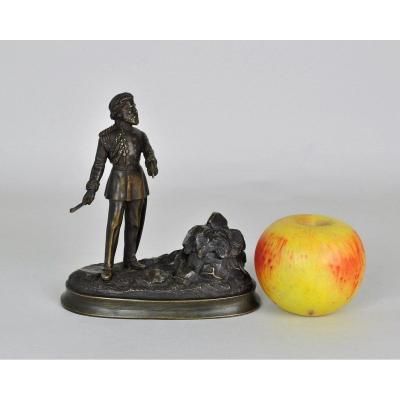 Encrier En Bronze Avec Militaire Gradé Américain, XIXème Siècle
