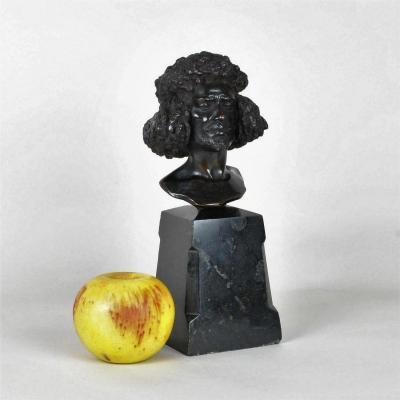 Abyssin, Tête d'Homme En Bronze Signé, Fin XIXème Siècle
