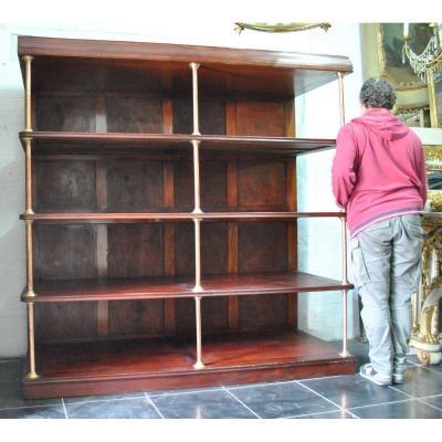Large Store Shelf In Mahogany And Brass Height 2m, Early XXth Century