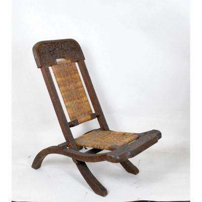 Chaise Pliante En Bois Exotique Sculpté Et Cannage, Asie, fin XIXème /Début XXème Siècle