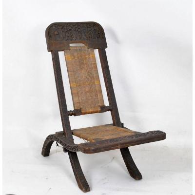 Chaise Pliante En Bois Exotique Sculpté Et Cannage, Asie, Fin XIXè/ débXXème Siècle
