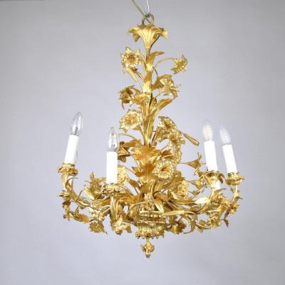Gilt Bronze Chandelier Decorated With Flowers And Leaves, XIXth Century