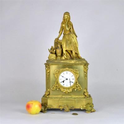 Gilt Bronze Clock, Oriental At The Well, Mid XIXth Century