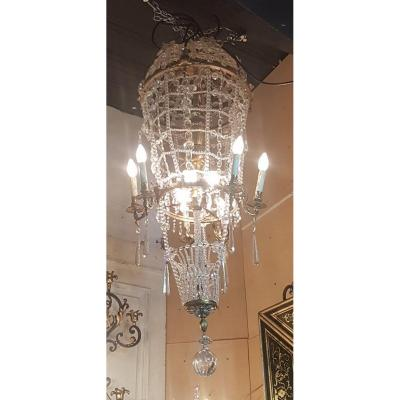 Large Chandelier In The Shape Of A Hot-air Balloon In Bronze And Crystal, 20th Century