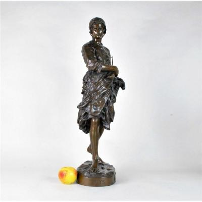 Jb Carpeaux The Fisherwoman Of Vignots Or Puys, Signed Bronze, 19th Century