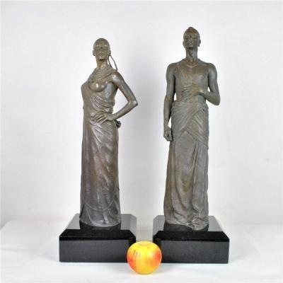 Grands Bronzes Couple De Massaï , XXème Siècle