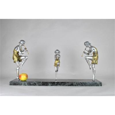 Matto/ Susse, Grand Groupe En Bronze, Joueuses De Flûte, Art Déco, XXème Siècle