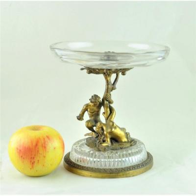 Coupe  En Cristal Et Bronze, Adam Et Eve, Début XXème Siècle