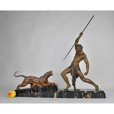 Dh Chiparus, Panther Hunter, Signed Sculpture, Art Deco, 20th Century