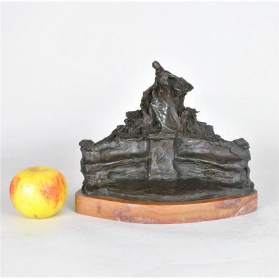 René De Saint-marceaux, étude Pour Monument, Bronze Signé, XIXème Siècle