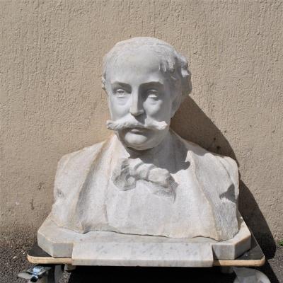 Buste En Marbre, Gentilhomme à La Moustache, XIXème Siècle