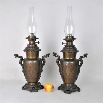 Paire De Lampes à pétrole Chinoisantes, Bronze XIXème Siècle