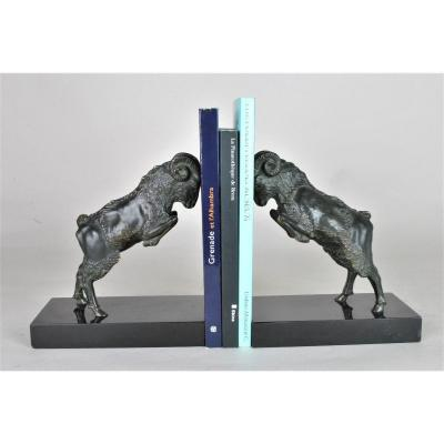 Scribe, Paire De Serre-livres Aux Bouquetins, Bronze, Signé, Art Déco, XXème Siècle