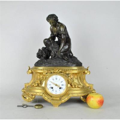 Pendule En Bronze, Femme Aux Fleurs, Schenewerk, XIXème Siècle