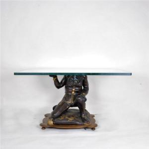 Table Basse Maure Vénitien Avec Plateau En Verre, XIXème Siècle