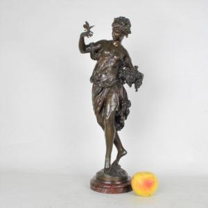 Math Moreau, l'été, Bronze Signé XIXème Siècle