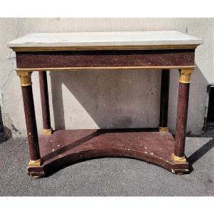 Console In Porphyry Imitation Wood, Empire Style, XIXth Century