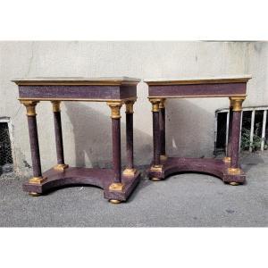 Pair Of Porphyry Imitation Wood Consoles, Empire Style, XIXth Century