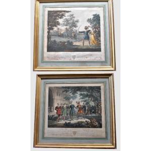Gravures Encadrées: Le Jeune Sargines Et  Philippe Auguste, XIXème Siècle