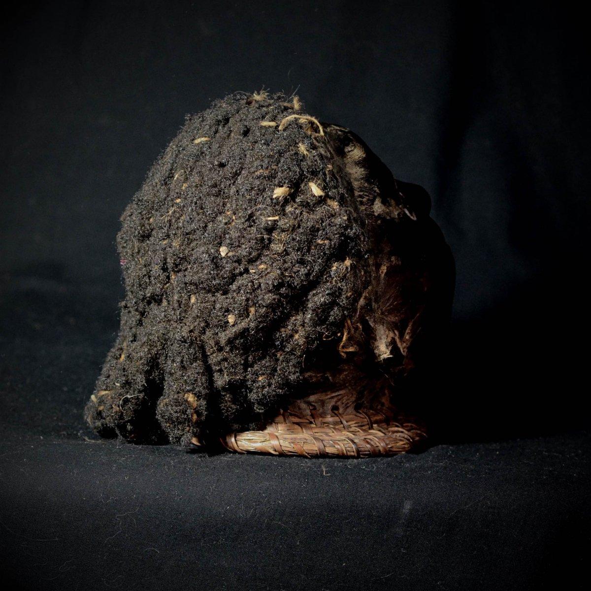 Tête En Bois Ekoi Ejagham Recouverte De Cuir Et De Cheveux Humains - Nigeria