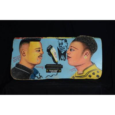 African Barber Advertising Sign - Ivory Coast