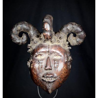 Leather Ekoi Ejagham Mask - Nigeria & Cameroun