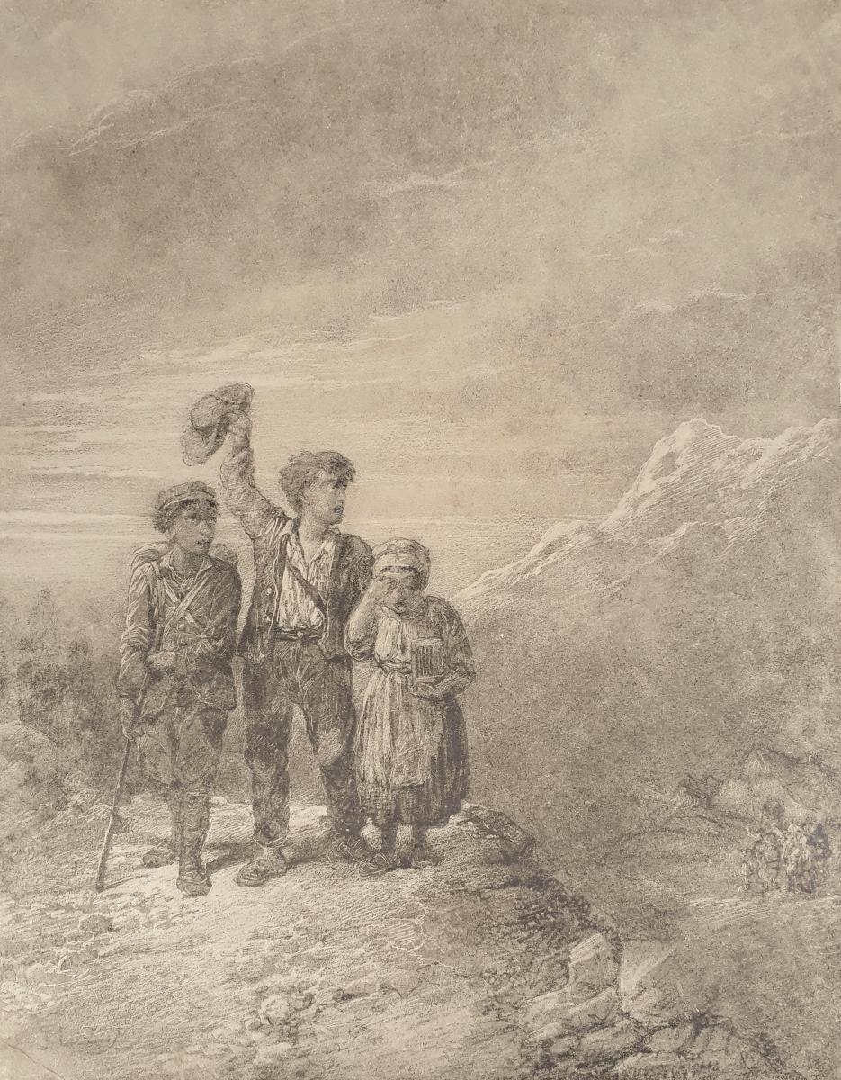 Jules LAURENS (Attribué à) - Les enfants dans la montagne-photo-2