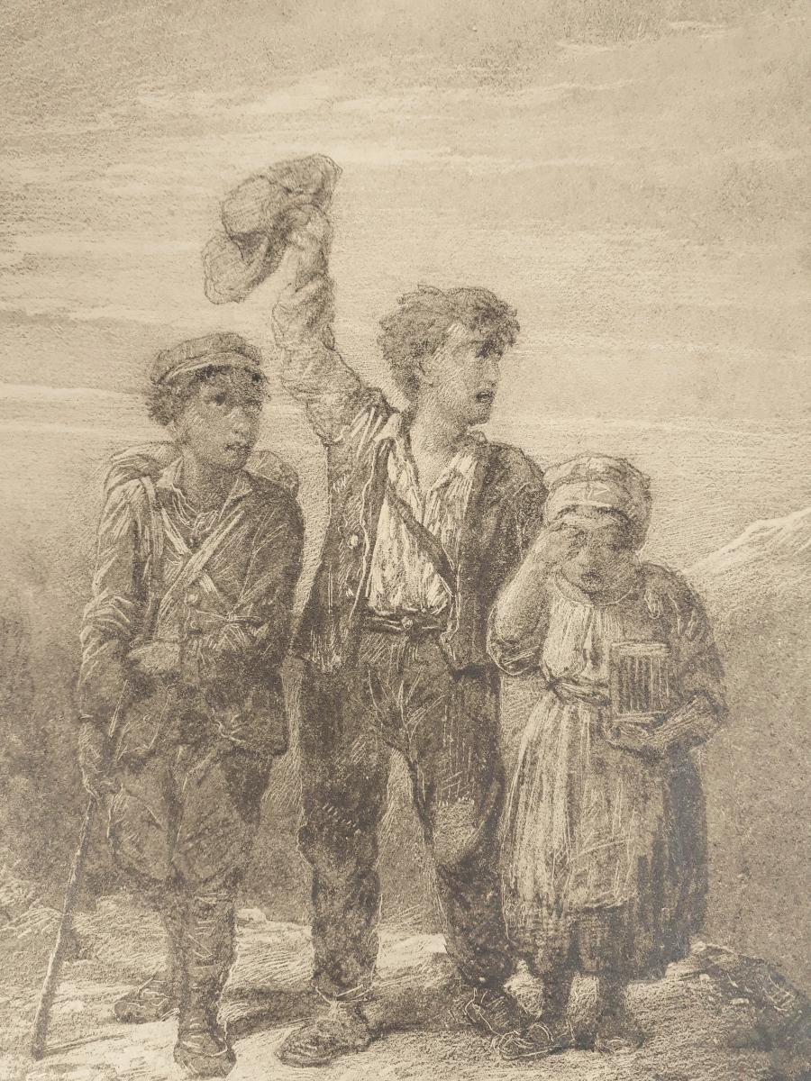 Jules LAURENS (Attribué à) - Les enfants dans la montagne-photo-3