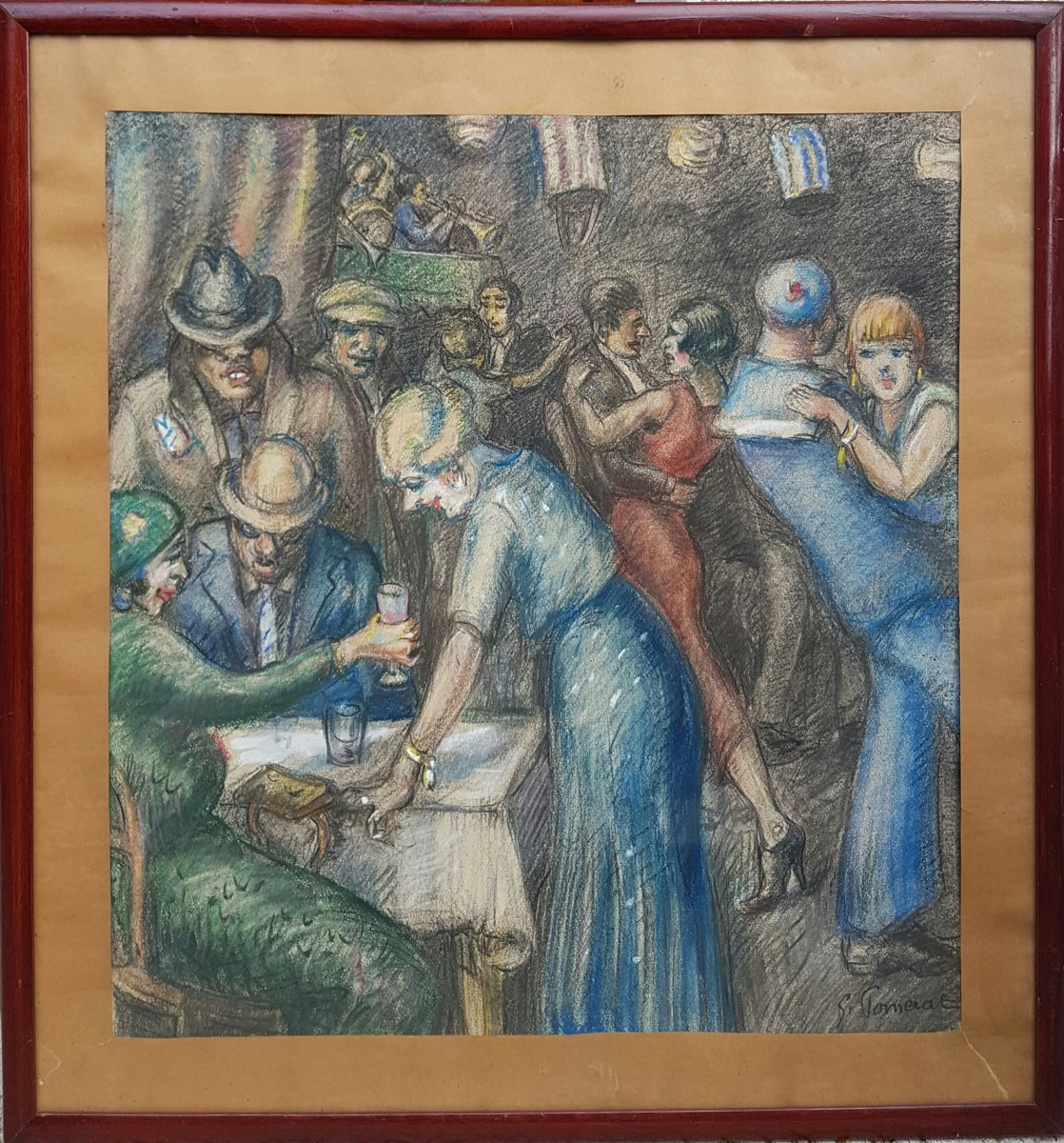 Georges POMERAT - Scène de cabaret à Marseille dans les années 1920