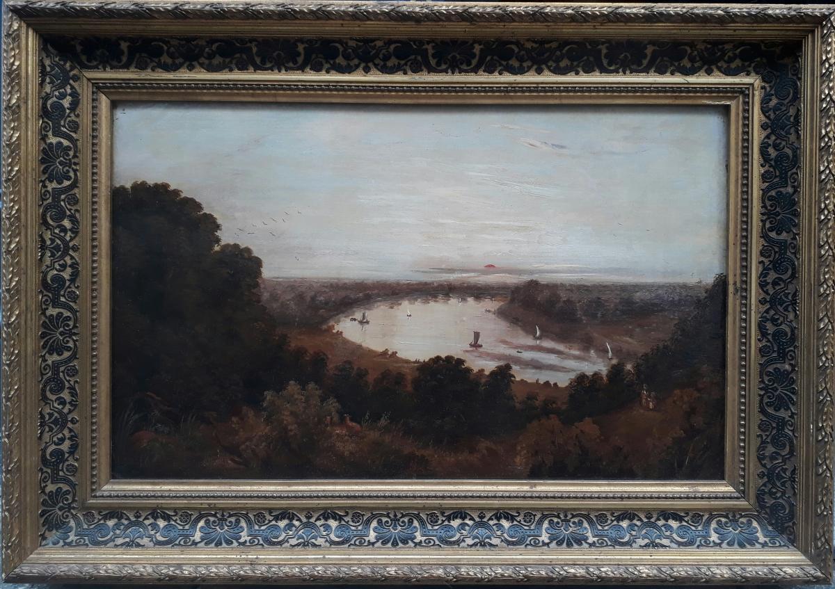 Ecole anglaise du début XIXe - Les bords de la Tamise à Richemond