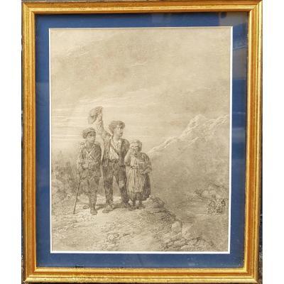 Jules LAURENS (Attribué à) - Les enfants dans la montagne